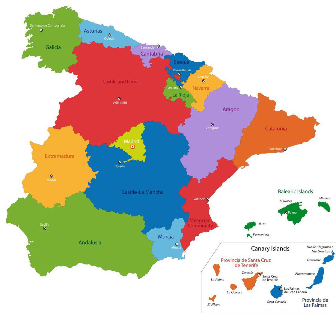 Regions of Spain iCASA Spain